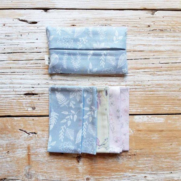 Kit 5 fazzoletti di stoffa 100% cotone- fantasia FORESTA FRANCESE