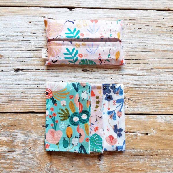 Kit 5 fazzoletti di stoffa 100% cotone - fantasia FLOWER POWER